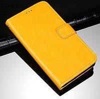 Чехол Fiji Leather для ZTE Blade A5 2020 книжка с визитницей желтый