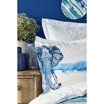 Постельное белье Karaca Home ранфорс - Nalini mavi голубой евро (ПВХ)
