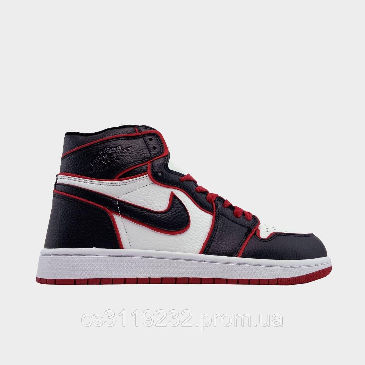 Мужские кроссовки  Air Jordan 1 Black Red(черно-красные)