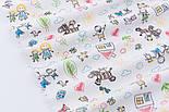 """Клапоть фланелі """"Дитячі малюнки кольоровими олівцями"""" на білому фоні, розмір 28*90 см, фото 4"""