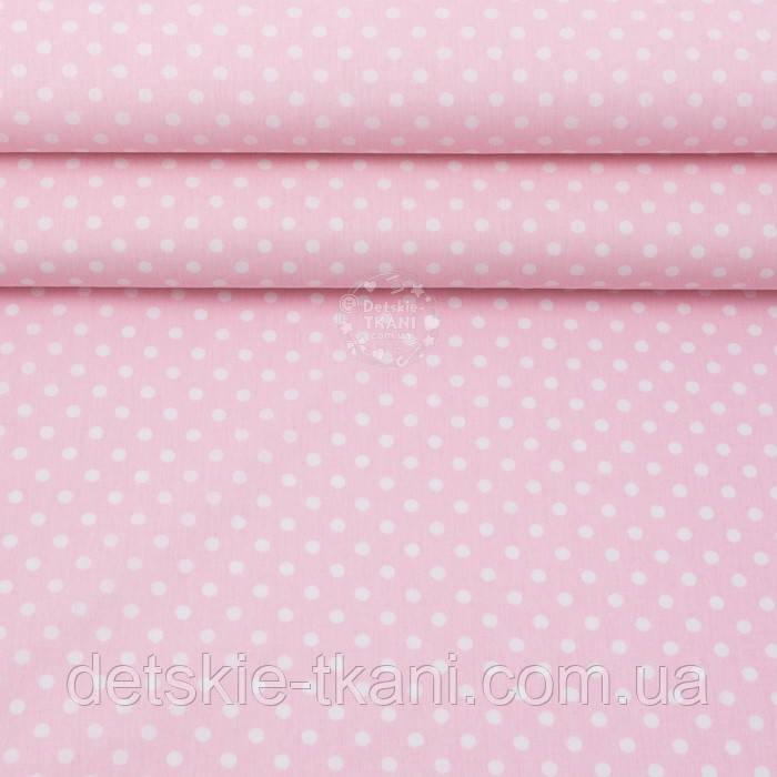 Поплин с горошком 6 мм на светло-розовом фоне, ширина 240 см (№3318)