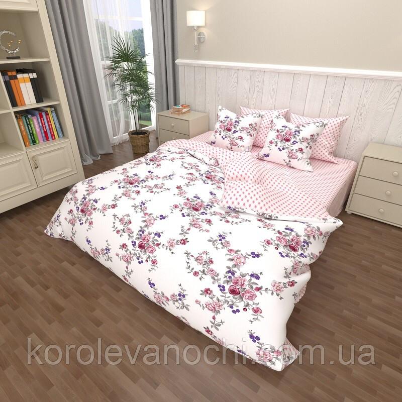 """Євро комплект (Бязь)   Постільна білизна від виробника """"Королева Ночі""""   Квітковий візерунок на білому і рожевому"""