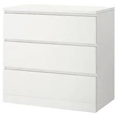 Комод IKEA MALM с 3-мя ящиками 80х78 см Белый (204.035.62)