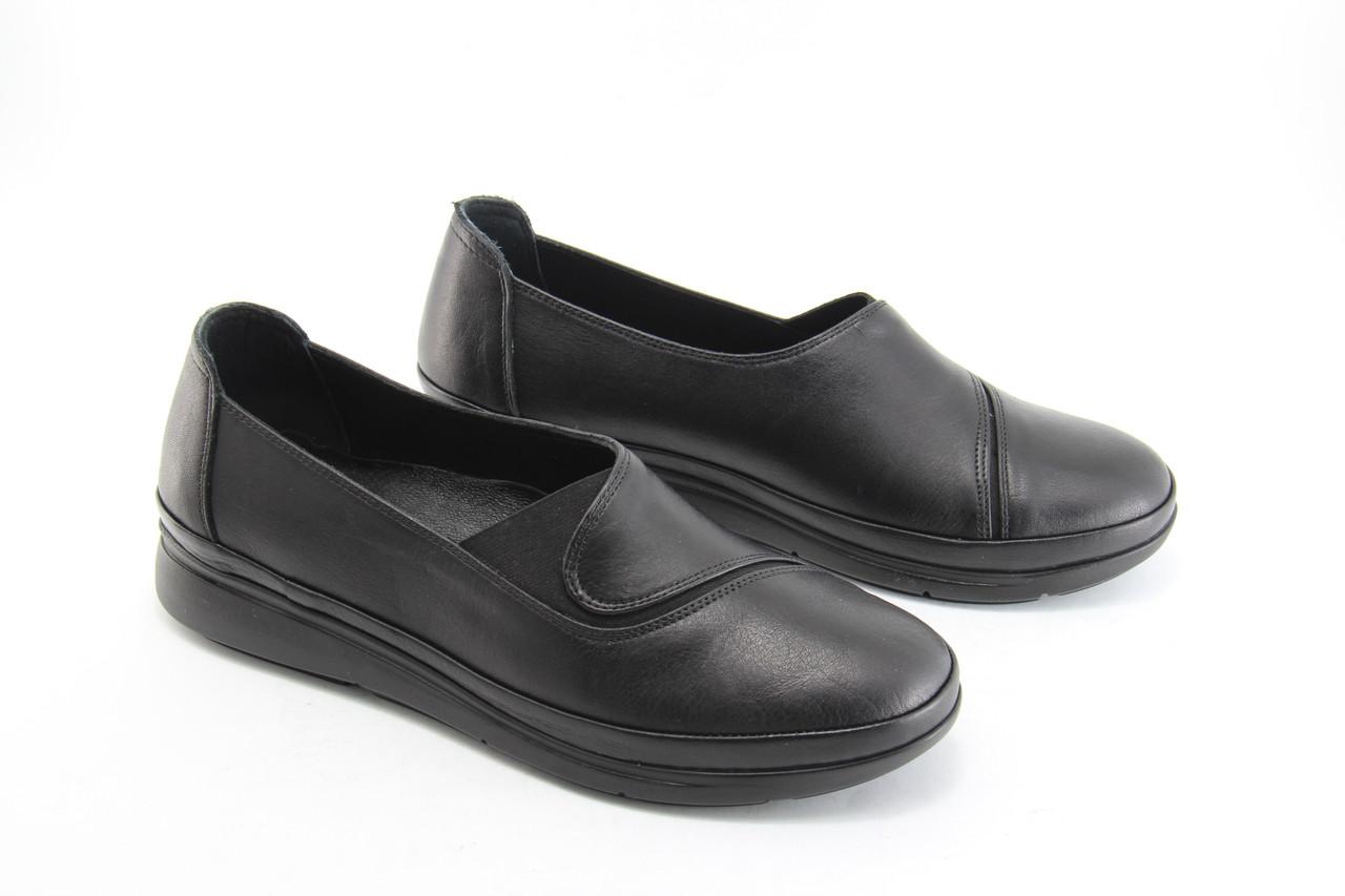 Туфли женские кожаные на низком ходу Aras Shoes 4505-Black