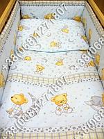 """Детское постельное белье в кроватку """"Бим Бом"""" комплект 7 ед. (мишка на месяце голубой)"""