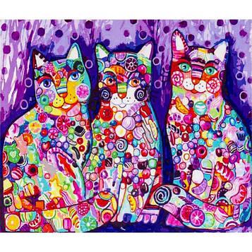 Картина за номерами 40х50 см DIY Яскраві коти (FX 30386)