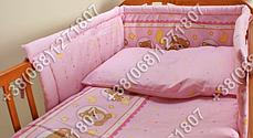 """Детское постельное белье в кроватку """"Бим Бом"""" комплект 7 ед. (мишка в круге розовый), фото 2"""