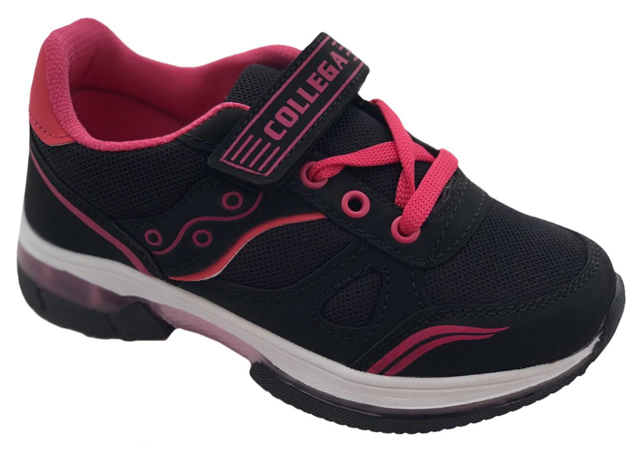 Детские текстильные кроссовки 73ROSESHNUROK31 Черный с розовым