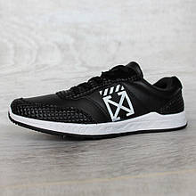 Мужские демисезонные кроссовки черные на белой подошве (Бн-26чб)
