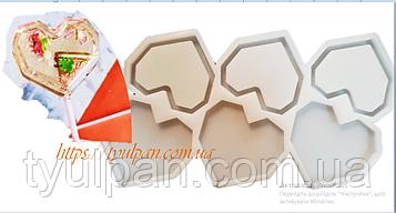 2D Форма силиконовая  сердечки граненные молд для изомальта леденцов погремушка