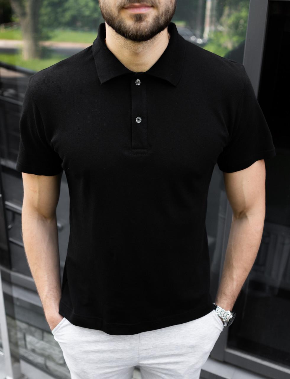 Чоловіча чорна класична теніска (футболка поло)