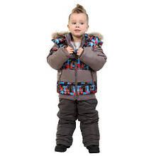 Детский зимний комбинезон для мальчика 76SERIYPRINT Серый