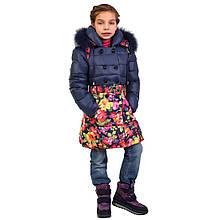 Детское зимнее пальто для девочки 167SINEYETSVETY Синее-цветы