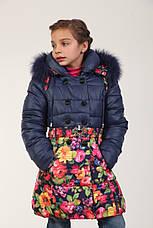 Детское зимнее пальто для девочки 167SINEYETSVETY Синее-цветы, фото 2