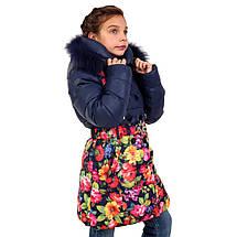 Детское зимнее пальто для девочки 167SINEYETSVETY Синее-цветы, фото 3