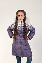 Детское зимнее пальто для девочки 17SIRENEVOE Сиреневое