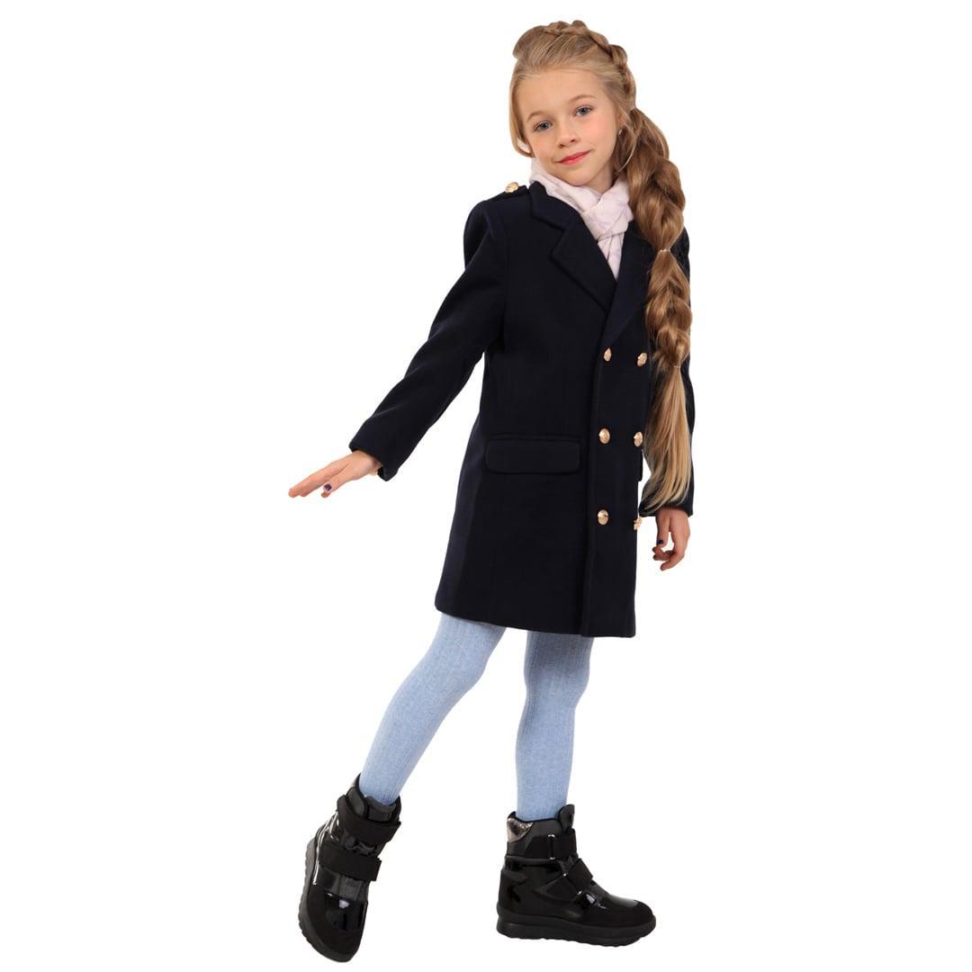 Детское демисезонное пальто для девочки 88TEMNOSINEYE Темно-синее
