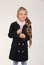 Детское демисезонное пальто для девочки 88TEMNOSINEYE Темно-синее, фото 3