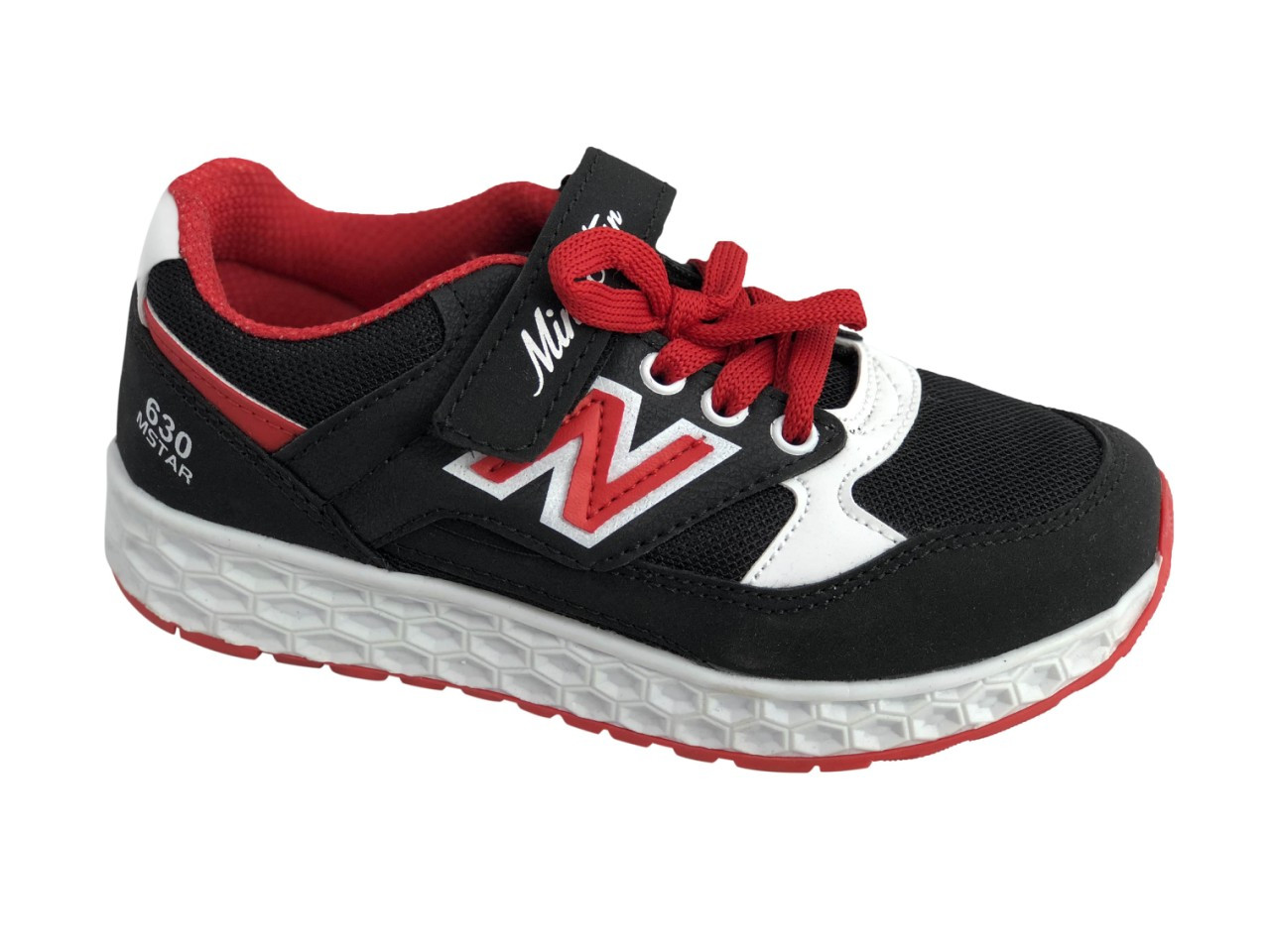 Детские текстильные кроссовки 73BLACKREDN Черный с красным
