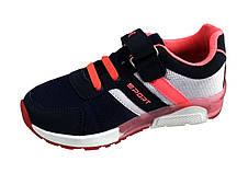 Детские текстильные кроссовки 73SINIYROSE Синий с розовым, фото 2
