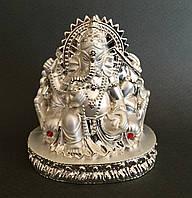 Ганеша, статуэтка в серебряном цвете (в подарочной коробке)