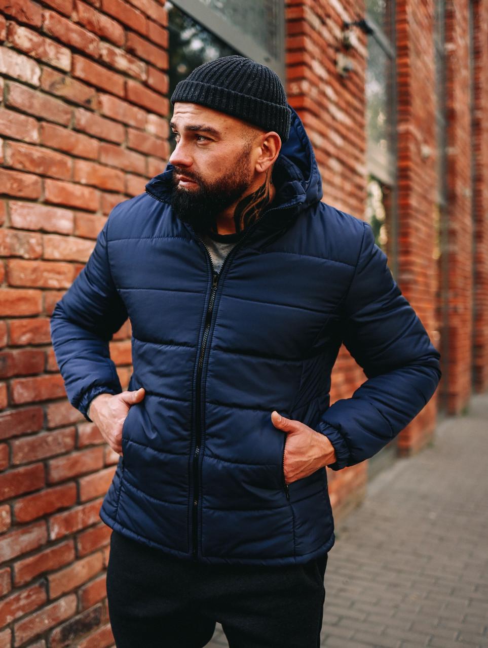 Чоловіча синя куртка Асос з капюшоном