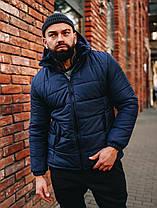 Чоловіча синя куртка Асос з капюшоном, фото 3