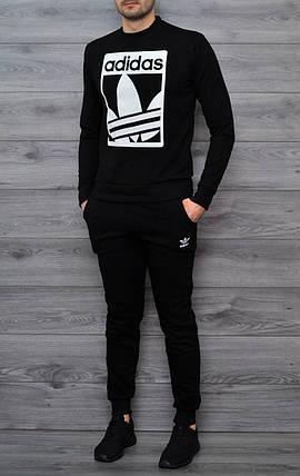 Мужской утепленный спортивный костюм чёрный свитшот с принтом Adidas и чёрные штаны с принтом Adidas, фото 2