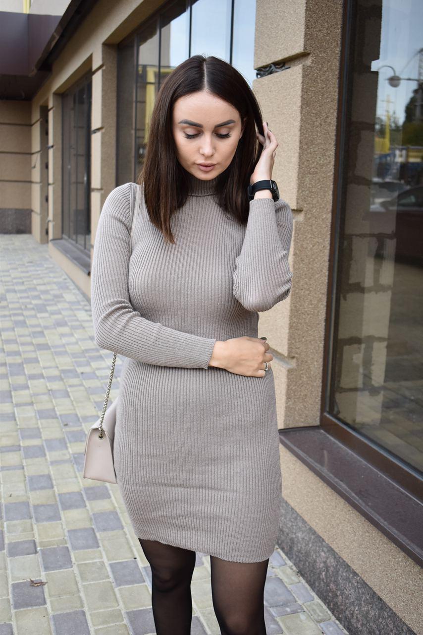 Платье-гольф цвета капучино