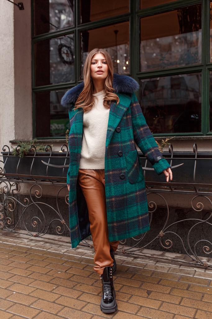 Модне ЗИМОВЕ пальто в клітку Смарагд 44,46,48,50,52,54,56 розмір