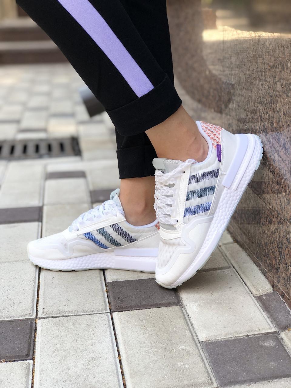 Кроссовки женские Adidas ZX 500 белые. Стильные женские кроссовки Адидас белого цвета.