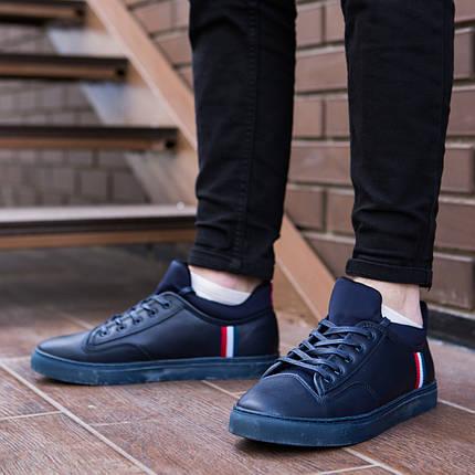 Кросівки чоловічі Armani сині. Стильні чоловічі кросівки Армані темно-синього кольору., фото 2