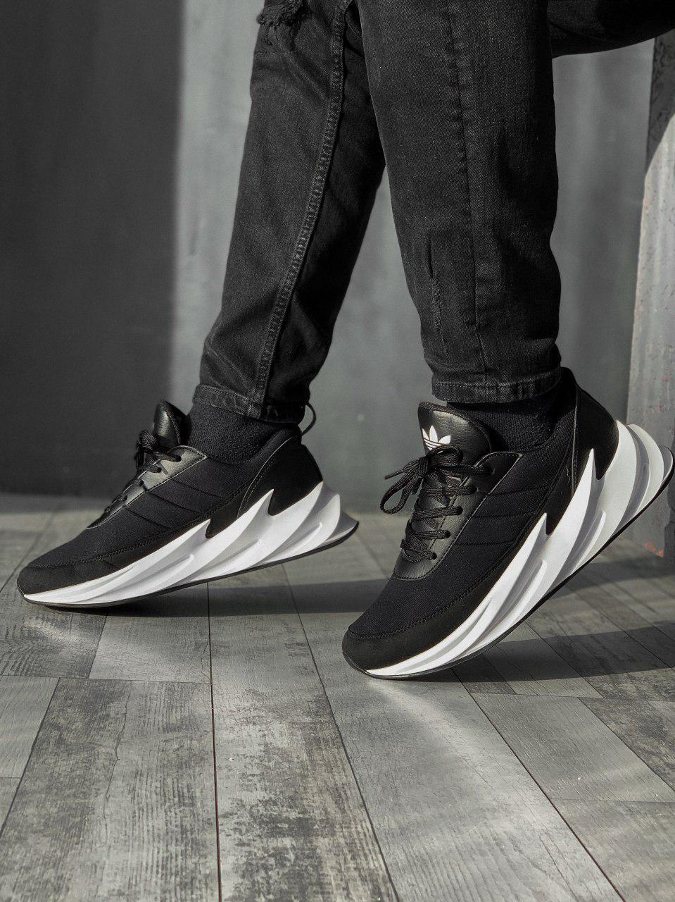 Кроссовки мужские ADIDAS Shark черные. Стильные мужские кроссовки Адидас черного цвета с белой подошвой.