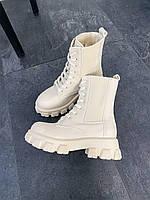 Ботинки женские демисезонные молочного цвета на грубой подошве. Стильные женские весенние/осенние ботинки.