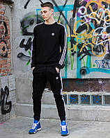 Мужской спортивный костюм Adidas черного цвета. Кофта+штаны Адидас.