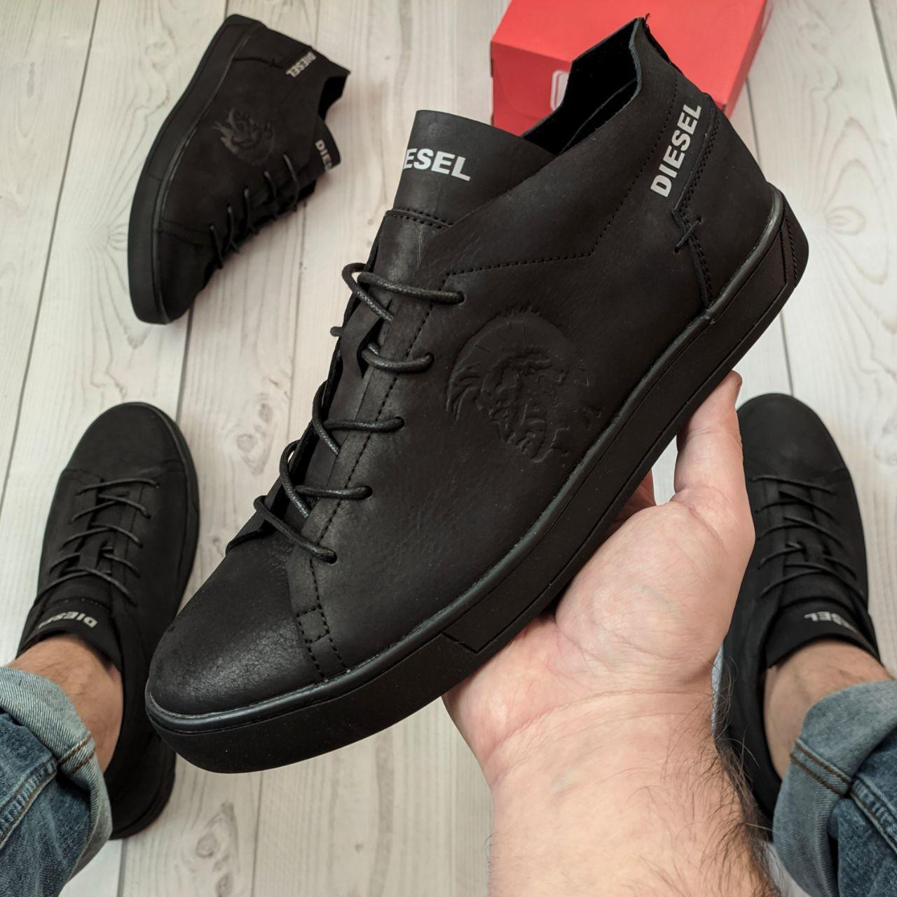 Кеды мужские Diesel черные. Стильные мужские кожаные кеды / кроссовки Дизель черного цвета.
