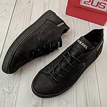 Кеды мужские Diesel черные. Стильные мужские кожаные кеды / кроссовки Дизель черного цвета., фото 2