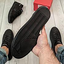Кеды мужские Diesel черные. Стильные мужские кожаные кеды / кроссовки Дизель черного цвета., фото 3