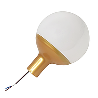 Светильник опаловый D80 мм с переходником на трубу D16 мм и патроном G4. Золотой
