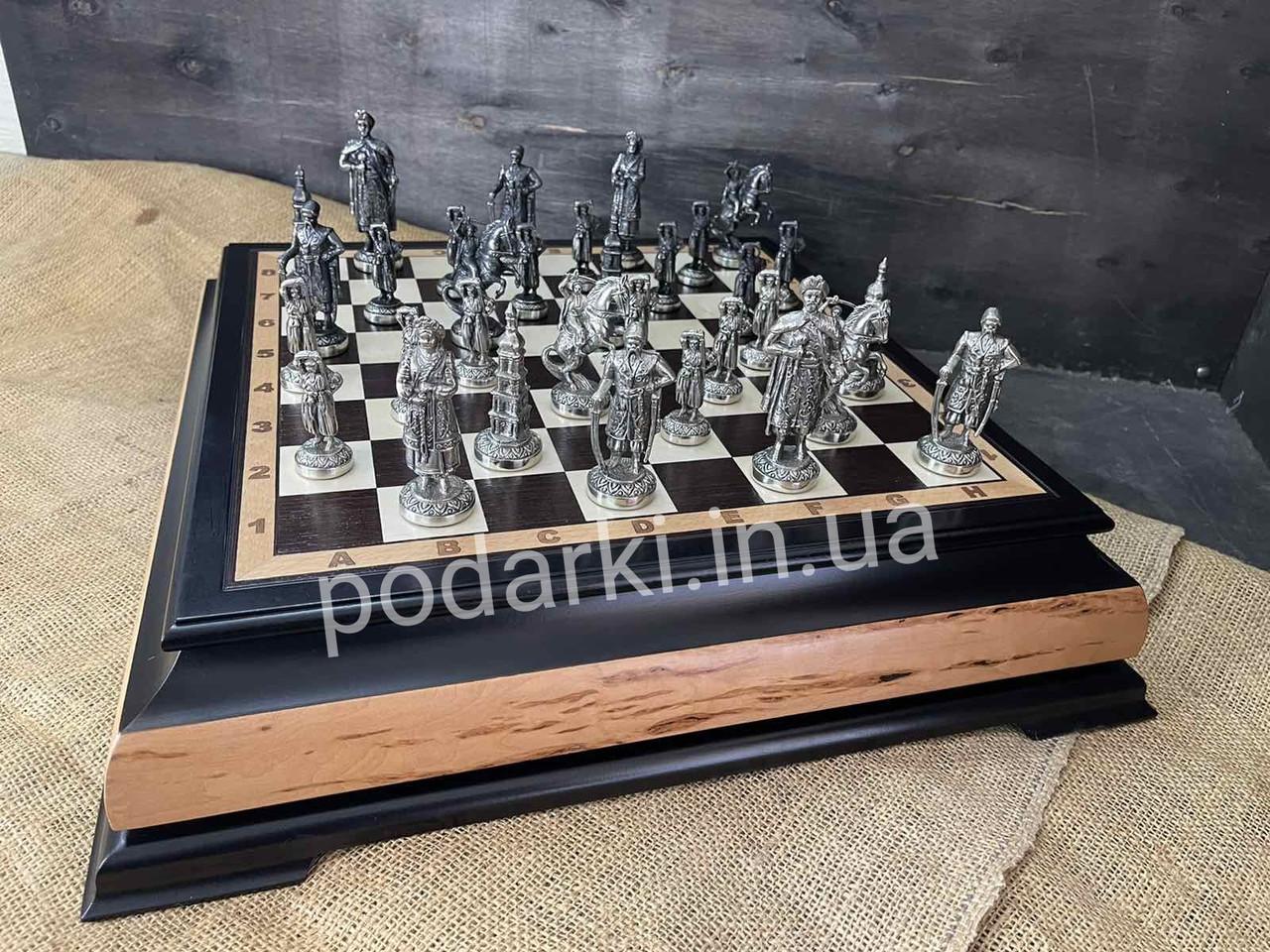 Эксклюзивные шахматы из мельхиора «Казацкая рада» с доской из дерева - дорогой подарок мужчине