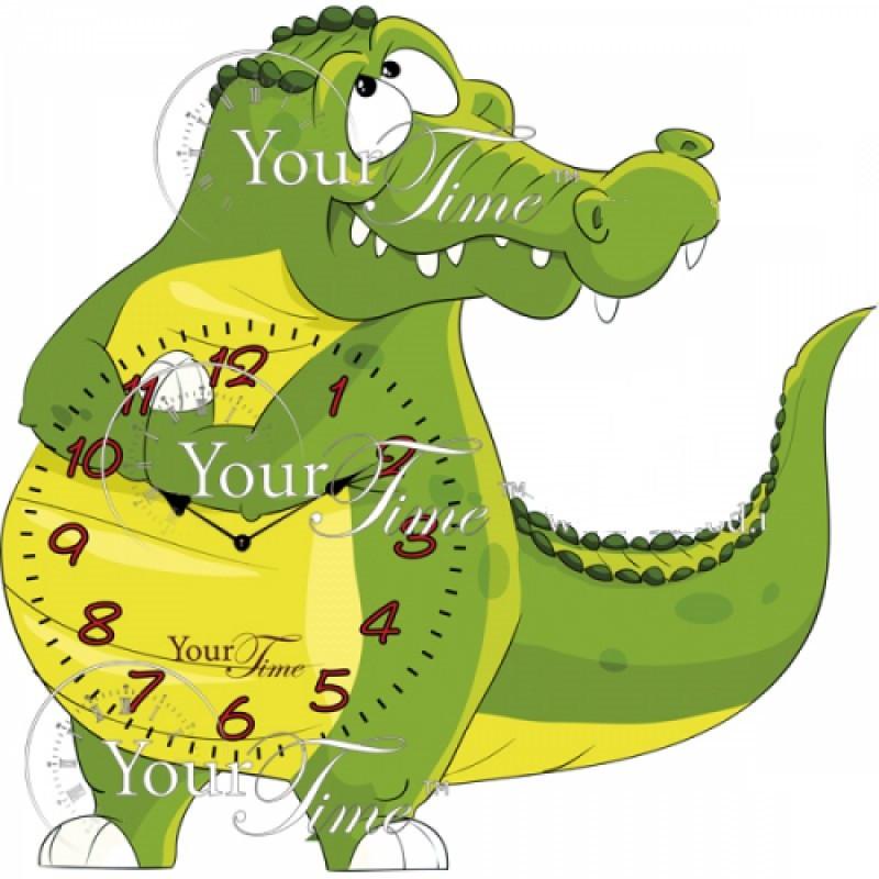 Детские настенные часы Крокодил зеленые арт.05-215 МДФ 22,5см*32,5см