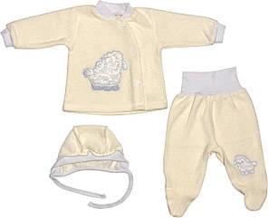 Теплий костюм на хлопчика зріст 56 0-2 міс для новонароджених малюків комплект дитячий махровий молочний