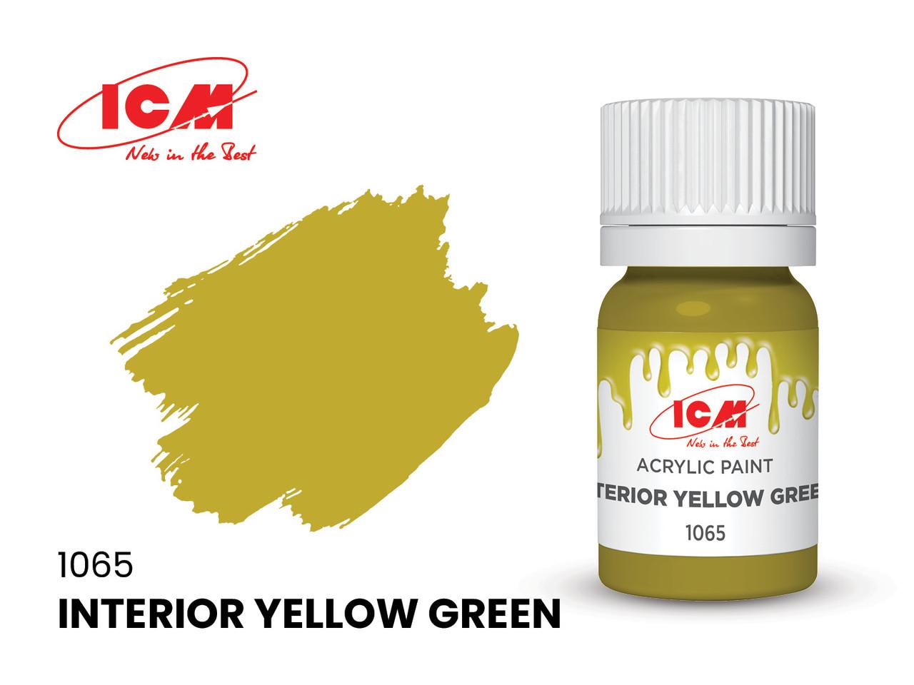 Фарба водорозчинна інтер'єрна жовто-зелена, 12 мл. ICM 1065