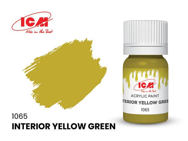 Фарба водорозчинна інтер'єрна жовто-зелена, 12 мл. ICM 1065, фото 2