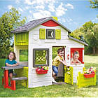 Великий дитячий ігровий будиночок Smoby Neo Friends зі столиком і парканчиком для дітей, фото 2