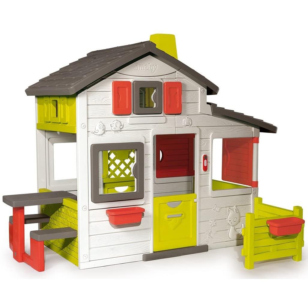 Великий дитячий ігровий будиночок Smoby Neo Friends зі столиком і парканчиком для дітей