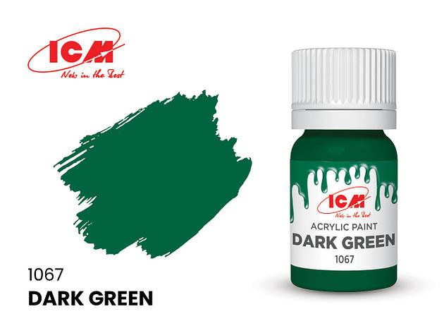 Краска водорастворимая зеленая темная, 12 мл. ICM 1067, фото 2