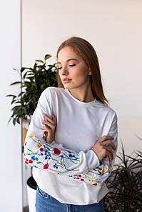 """Женский свитшот с вышивкой """"Полевые цветы"""""""