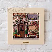 Картина из дерева и керамики Allicienti Серия Home Скамейка и нежные розы 28х28 см
