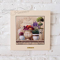 Картина из дерева и керамики Allicienti Лаванда и горшочек с цветами 28х28 см